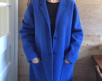 Vintage Oversized Coat- Cobalt blue, Evan Picone 100% Wool