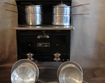 Vintage Child's Electric Stove with Pots and Pans