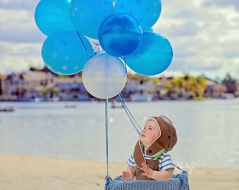 Baby, Toddler, Child, Beach Hot Air Balloon Basket Digital Photo Backdrop, Background Prop for Photography, Instant Download, Blue Balloon
