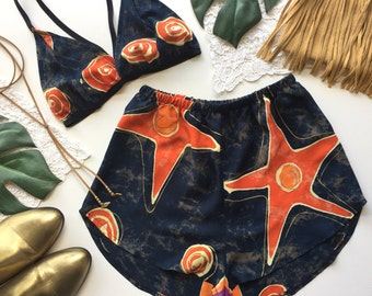 Starburst Festival Outfit Matching set navy red stars boho crop bra top bralette and high waist racer shorts