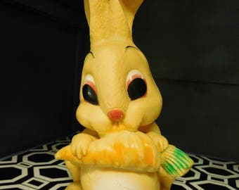 Vintage 60's Easter Bunny Rubber Rabbit  Squeek Toy Yellow Still Works 8' Tall