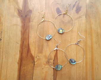 Minimalist Abalone Hoop Earrings, Gold or Silver, Boho Hoops, Beach Jewelry