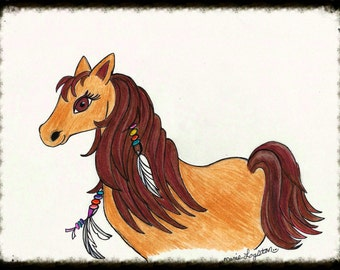 Southwestern Horse/Feathers/Beads Greeting Cards - Note Cards. Includes White Envelopes