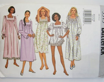 Butterick 3313 Sewing Pattern Misses' Nightgown & Shorts Sizes 6 - 14 Uncut