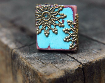 Cottage Chic Statement Ring Cockatoo Blue Boho Scrabble Tile Rustic Distressed Wood  - The Majestic