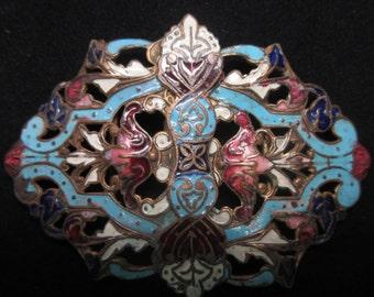 Antique Art Nouveau Champleve Enamel Filigree Floral Belt Buckle    Bridal Sash   Edwardian