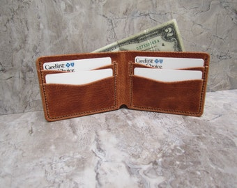 Horween leather wallet, genuine Horween Dublin leather, Natural, embossed