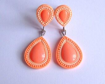 Light Peach Earrings, Coral Earrings, Salmon Earrings, Peach Wedding Earrings, Peach Bridesmaid, Wedding Jewelry, Prom Earrings Prom Jewelry