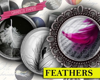 """Feathers Plumage Digital collage sheet - td68 - 1.5"""", 1.25"""", 30mm, 1 inch Circles, 25mm Jewelry Supplies Pendants Buttons Crafts Cabochon"""