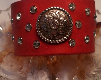 Leather Cuff Red Western Sparkle