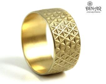 Wide Gold wedding band, men band, Textured  Wedding Band, 14k Gold ,Stars Texture wedding ring band, gold ring ,men band, Handmade design