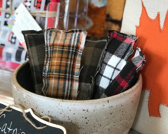 Catnip Kick Pillows - assorted flannel prints, set of 4
