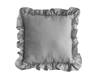 Gray Linen Cushion / Decorative Pillow / Pillow with Frills / Pure Linen Pillow / Linen Home Decor / Gray Nursery Decor
