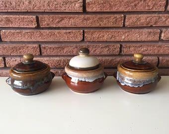 Vintage Hull Pottery Drip Bean Pots