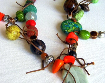 Colorful Tribal Necklace, Wild Leafy Nature Inspired Gemstone Necklace, Tribal Waxed Cotton Choker Necklace - Forest Song
