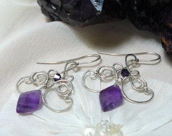 Amethyst Earrings ~ Amethyst Chandelier Earrings ~ Sterling Silver Chandelier Earrings ~ Wire Wrapped Earrings ~ Amethyst Wire Earrings