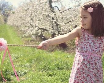 Magic wand- Girls Flower Wand Fairy wand pincess wand kids wand ribbon wand wedding wand pink flower wand