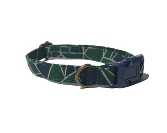 Geode - Geometric Bold Green Blue Southwestern Organic Cotton CAT Collar Breakaway Safety - All Antique Metal Hardware