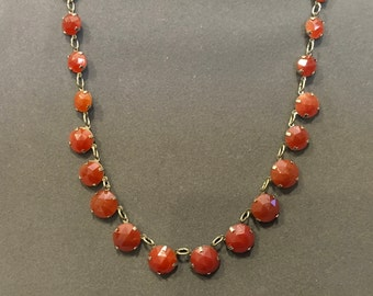Vintage Czech Carnelian Glass Necklace