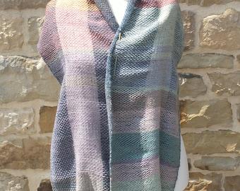 Rectangular woven Twill handmade Alpaca Merino and acrylic shawl