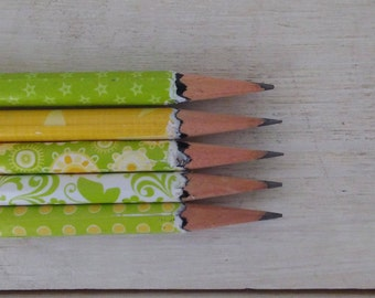 Hand wrapped pencils/ Summer Bright/ girls/ teachers gift/ student/ Graphite pencil/ HB 2/ office supplies/ Gift set