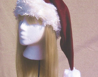 Extra long Santa hat - custom made any size baby, kids, adults - burgundy or bright red available