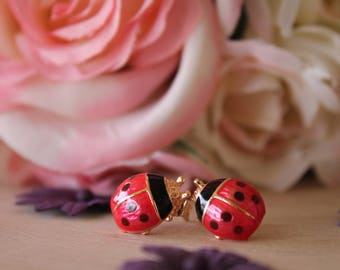 Gold Ladybug Earrings, Painted Lady Bug Stud earrings, gifts for her, mothers day gift ideas, gifts for girls, insect jewelry, Spring,