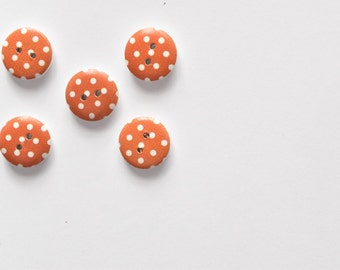 Burnt Orange Polka Dot Button - Sewing Notion, Craft Buttons, Scrapbooking, Cardmaking Wood Button - 15mm Button - Shankless 2 Hole Button