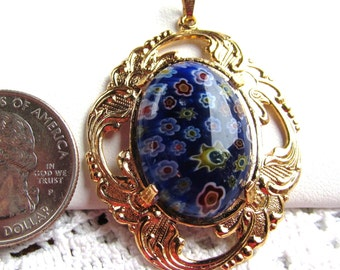 Millefiore Glass Cabochon 18x25mm in Gold-plated Pendant with Chain Available in Two Colors