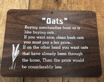 Vintage 1970's Sign Wall Plaque Oats Store Sign Home Decor