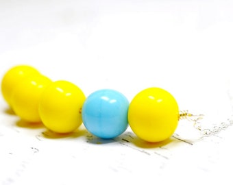 Beaded Asymmetrical Necklace, Bright Vibrant Jewelry, Modern Minimalist Bead Cluster Bar Necklace, Sky Blue, Sunny Yellow