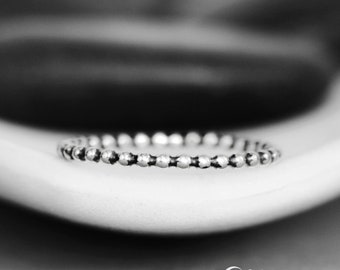 Small Beaded Wedding Band - Simple Silver Wedding Band - Thin Wedding Band - Stacking Ring - Unique Wedding Band - Womans Wedding Band