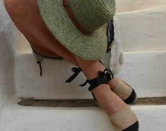 Espadrille Sandals. Lace up Paris Style Espadrilles in Beige and Black. Summer Leather and Fabric Shoes. Women's Sandals. Greek Sandals.