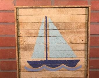 Sail Boat, Sailboat, Sail Boat Wall Art, Sail Boat Decor, Beach House Wall Art, Nautical Decor, Nautical Wall Art, Rustic Beach Decor