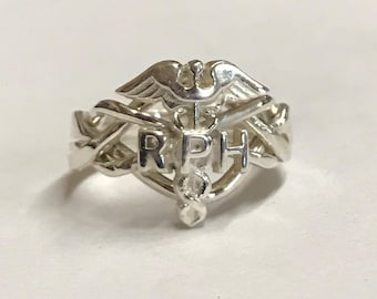 Ladies 4 Band Pharmacist's Caduceus Sterling Silver or Gold Puzzle Ring 4RPH