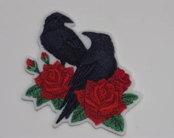 Bird  Iron-on Patch. Embroidered Patch. Sew-On Patch. Ravens and Roses Patch