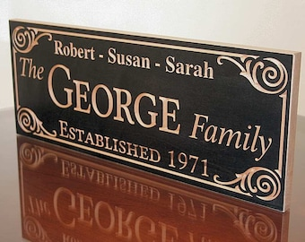 5 Year Anniversary Gift, Parents Anniversary Gift, Family Name Plaque, 5yr Anniversary Gift, Benchmark Custom Signs, Maple GG