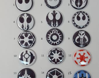Star Wars pins, magnets or flatbacks - hairbow DIY - Rebel Alliance - Galactic Empire - First Order - Galactic Republic - Jedi Order