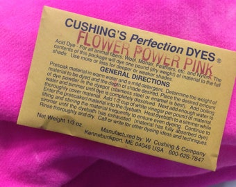 "Flower Power Pink NEW ACID DYE from  W. Cushing & Co ""Perfection"" Acid Dye, 1/3 ounce package"