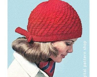 Knit Hat Pattern Bow Tie Cap Knitting Pattern Womens Hat Instant Download PDF Pattern - K32