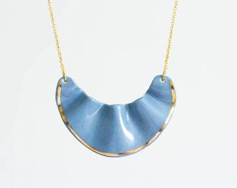 Sky blue and gold ceramic necklace for spring!