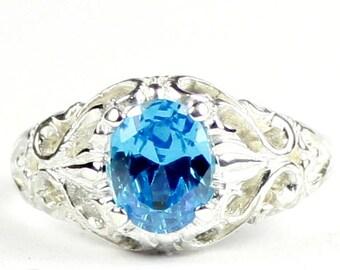 Swiss Blue CZ, 925 Sterling Silver Ring, SR113