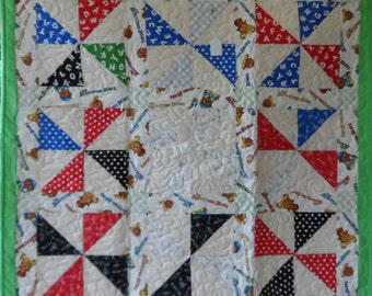 Bear Pin Wheels Baby Quilt
