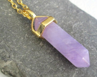 Purple Amethyst Point Pendant: Double Terminated Crystal Jewelry, Boho Necklace, Long Gold Chain