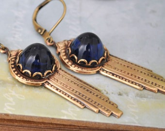 ART DECO EARRINGS antiqued brass art deco style earrings with vintage dark sapphire color glass cabs