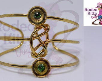 Gold Bangle with 9mm Bullet slice and Emerald Swarovski Crystal