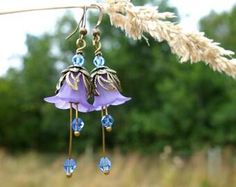 Sapphire Earrings - Flower Earrings - Floral Earrings - Purple Earrings - Boho Earrings - Bohemian Jewelry - Woodland Jewelry - Dangle Drop.