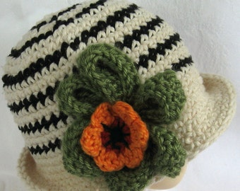 Baby Girls Crochet Hat Pattern Striped with Large Flower Trim Instant Download Multi-Sized Pattern