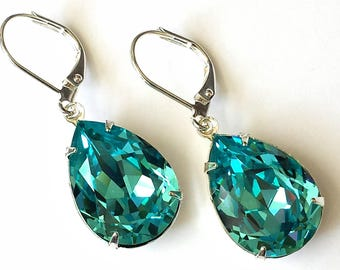 Swarovski Light Turquoise Earrings Swarovski Crystal Teardrop Earrings Silver Drop Light Turquoise Crystal Earrings Wedding Bridal Jewelry