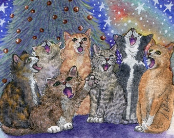 Cat choir 8x10 signed art print